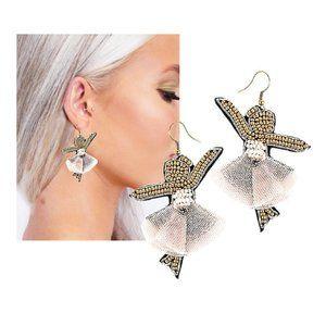 Ballerina Tiny Dancer Seed Bead Earrings NEW
